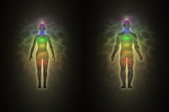 Woman and man silhouette, aura, chakras, energy Royalty Free Stock Images