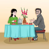 Woman and man sitting at the table and drink tea with cake. The conversation in kitchen between two people. Vector illustration Stock Photography