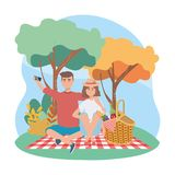 Woman and man with smartphone selfie and food in the hamper. To picnic relaxation, vector illustration royalty free illustration