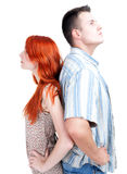 Woman and man standing back Stock Image