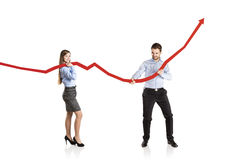 Woman and man with statistics curve Royalty Free Stock Image
