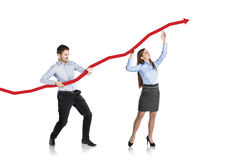 Woman and man with statistics curve Stock Image