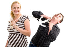 Woman and man struggling. A woman and a man struggling over freedom Royalty Free Stock Photos