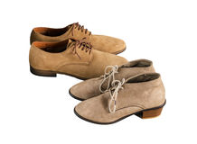 Woman and Man Suede Shoes Isolated on White Stock Images