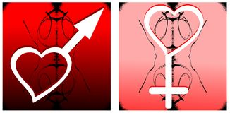 Woman and man symbol on background Stock Images