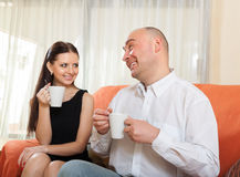 Woman and man   talking Royalty Free Stock Photography