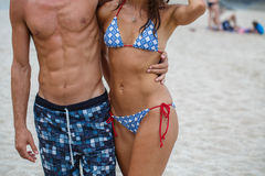Woman and man torso on the Beach Royalty Free Stock Photography