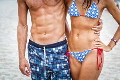 Woman and man torso on the Beach Stock Photo