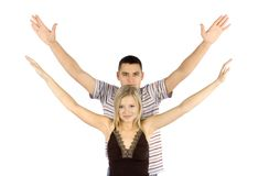 Woman and man train together Royalty Free Stock Photography