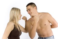 Woman and man train together Royalty Free Stock Photos