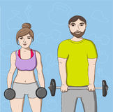 Woman and man training. Couple doing exercises for strong body with barbell stock illustration