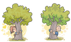 Woman and man Tree huggers. Royalty Free Stock Photos