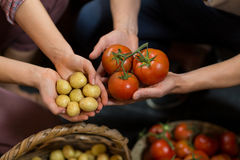 Woman and man vendors holding tomatoes and potatoes at grocery store. Close-up of man and man vendors holding tomatoes and potatoes at grocery store royalty free stock photos