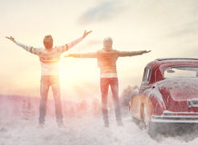 Woman, man and vintage car Royalty Free Stock Photography