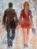 Woman and man walking ,back view .Handmade oil painting on canvas. Woman and man walking ,back view .Handmade painting on canvas Royalty Free Stock Photography