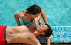 Woman and man in water pool Stock Photography