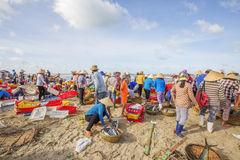 Woman and man working on the beach near Long Hai fish market Royalty Free Stock Photography