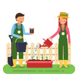 Woman and man working in garden. Different tools for farming and gardening. Vector characters in flat style royalty free illustration