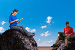 Woman and man working outdoors stock image