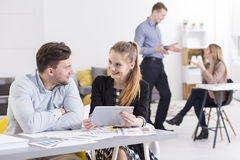 Woman and man working together Royalty Free Stock Photo
