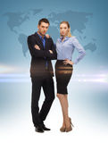 Woman and man with world map Stock Photography