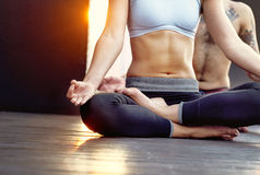Woman Man Yoga Practice Pose Training Concept Stock Photography