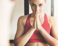 Woman Man Yoga Practice Pose Training Concept stock images