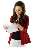 Woman manage paperwork Royalty Free Stock Images
