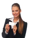 Woman manager with a business card Royalty Free Stock Photos