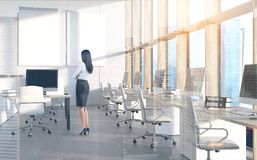 Woman manager business company, cityscape double Royalty Free Stock Images