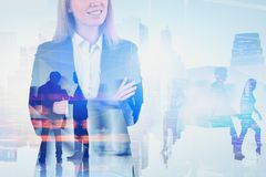 Woman manager in city, technology concept stock photo