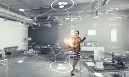 Woman IT manager . Mixed media Stock Photo