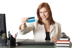 Woman manager showing a credit card Stock Photo
