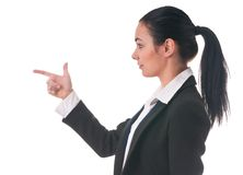 Woman manager shows the direction of finger Royalty Free Stock Photo