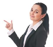 Woman manager shows the direction of finger Stock Photography
