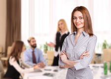 Woman manager during a successful negotiation Royalty Free Stock Image
