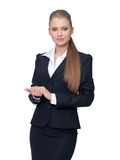 Woman manager in a suit Royalty Free Stock Photography