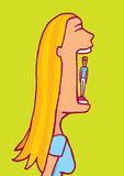 Woman is a maneater. Cartoon illustration of a blonde woman about to eat a tiny man Royalty Free Stock Photo