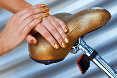 Woman manicured golden nails Royalty Free Stock Image