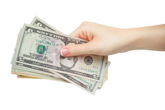 Woman manicured hand hold or given money isolate on white Stock Photo