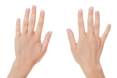 Woman with manicured natural nails Royalty Free Stock Photos