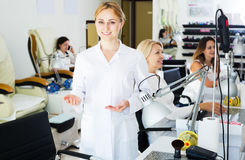 Woman manicurist in nail salon Stock Photography