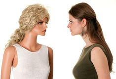Woman with mannequin Royalty Free Stock Images