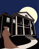 Woman and a mansion. Vector illustration of a woman looking down the path to an old mansion Royalty Free Stock Photos