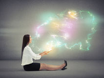 Woman with many-coloured magic Stock Photos