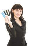 Woman with many different credit cards Royalty Free Stock Images