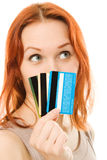 Woman with many different credit cards. Stock Photos