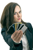 Woman with many different credit cards. Isolated on white Stock Photo