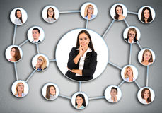 Woman and many friends Royalty Free Stock Photo