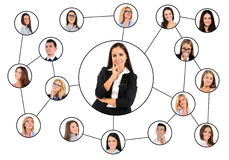 Woman and many friends Stock Photo